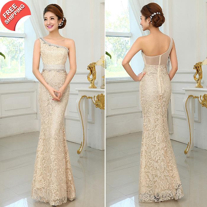 2014 di lusso una spalla elegante pizzo lungo abito da sera sirena abito da sposa taglia partito personalizzato