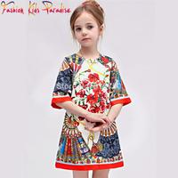 Super quality 2014 Autumn new Italy brand children princess dresses, designer babi girl dobby dress,kids flower dress girl,2-12Y