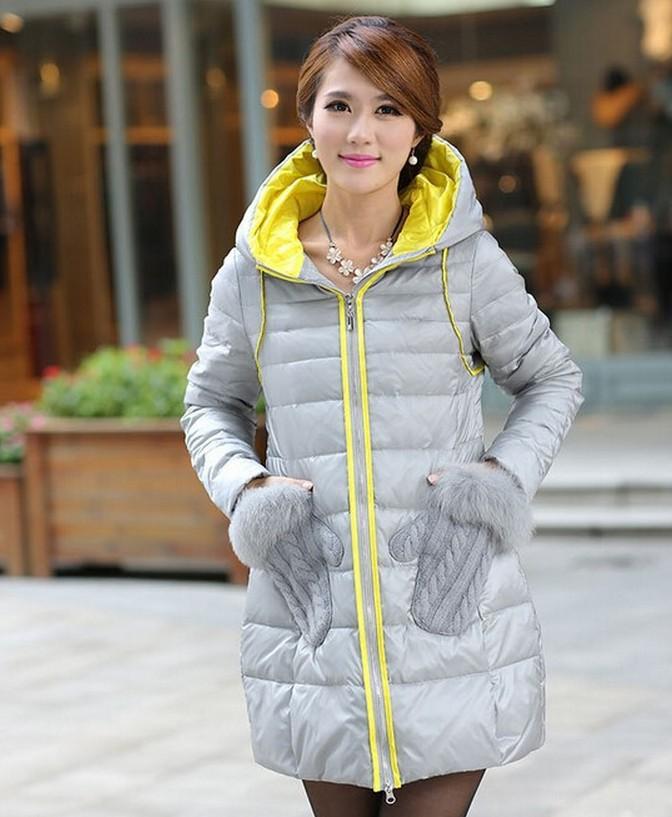 Winter medium-long down coat fox fur Collar gloves pocket down jacket ladies winter warm overcoat thick Free shipping YWZ001(China (Mainland))