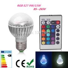 New arrival LED RGB Bulb E27 9W 15W Remote Control Color Changing LED Wall Light Bulb RGB 16 Color Lamp AC 85-265V(China (Mainland))