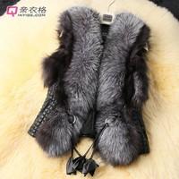 2015 new short design female faux fox fur vest leather vest plus size ladies leather faux fur vest women coat  3535