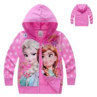 Retail Girls Hoodies girls jacket Frozen Pink Jackets Outerwear and jackets for girls Coats Children Terry Coat girls fur coat