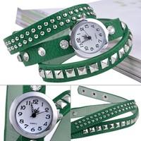 2014 Women Dress Watch Fashion Leather Quartz Watches Bracelet Women Wristwatch Synthetic leather Strap 7 Colors B16 SV006176