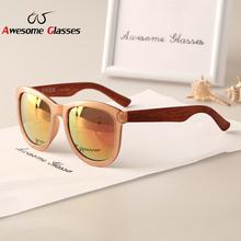 2015 New Fashion Brand wood Sunglasses Women Vintage Sun Glasses Men Retro Coating Sunglass Gafas Oculos De Sol feminino S245