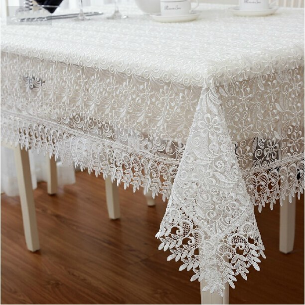 White high quality elegant polyester satin full lace tablecloth