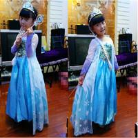 Chirstmas Frozen elsa dress disfraz vestido frozen princess baby girls dresses Crown Braid Magic Wand sets snowflake party dress