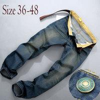 2015 Winter Vintage Style Fashion Jeans Men Plus Size Stretchy Pants Denim Cotton Straight Large Big Jean For Men 40 42 44 46 48