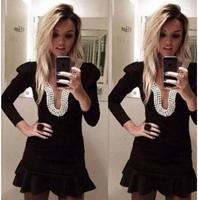 dresses 2014 vestidos women summer dress Long sleeve black pearl backless vestido de festa casual dress vestidos