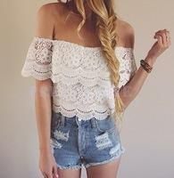 Lowest Price !Women Shirt Blouse Sexy White Chiffon Lace Crochet Short Sleeve Off Shoulder Casual Blouse S-L b7 SV000843