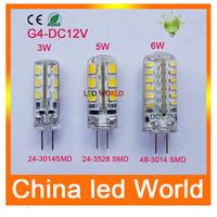 10pcs led G4 DC lamp 3W/5W/6W 12V led bulbs 3014 3528 LED  Lamps Silicone CandleReplace 30W - 50W halogen lamp Light Bulb  Light