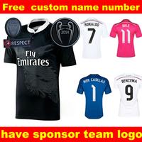 Real Madrid  Soccer jersey champions league 2015  MAN soccer jersey camiseta shirt away black MAN women jersey football shrit