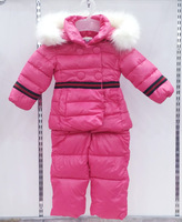 free shipping 2014 winter coat+jumpsuit baby clothing set Children boys girls warm down thicken jacket suit set baby coat