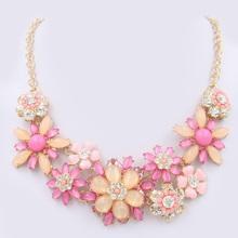 New 2014 fashion Vintage Multicolor flower resin brand Necklaces & Pendants Wholesale Women Jewelry Statement long Necklace