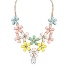 New 2014 fashion Vintage Multicolor flower resin brand Necklaces Pendants Wholesale Women Jewelry Statement long Necklace