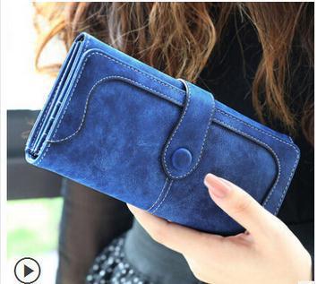 2014 New Fashion Women Vintage Wallet Matte Stitching Women Long Brand Purse Clutch 9 Colour Handbag Wristlet Carteira Feminina(China (Mainland))