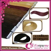 Forawme PU tape glue Skin weft hair extensions straight 50g(20pieces/set) Human hair extensions #2 darkest brown #4 medium brown