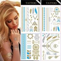 50pcs/set Flash Tattoo child of wild Metallic tattoo golden tattoo Gold and Silver Skin Temporary Tattoosticker--drop shipping
