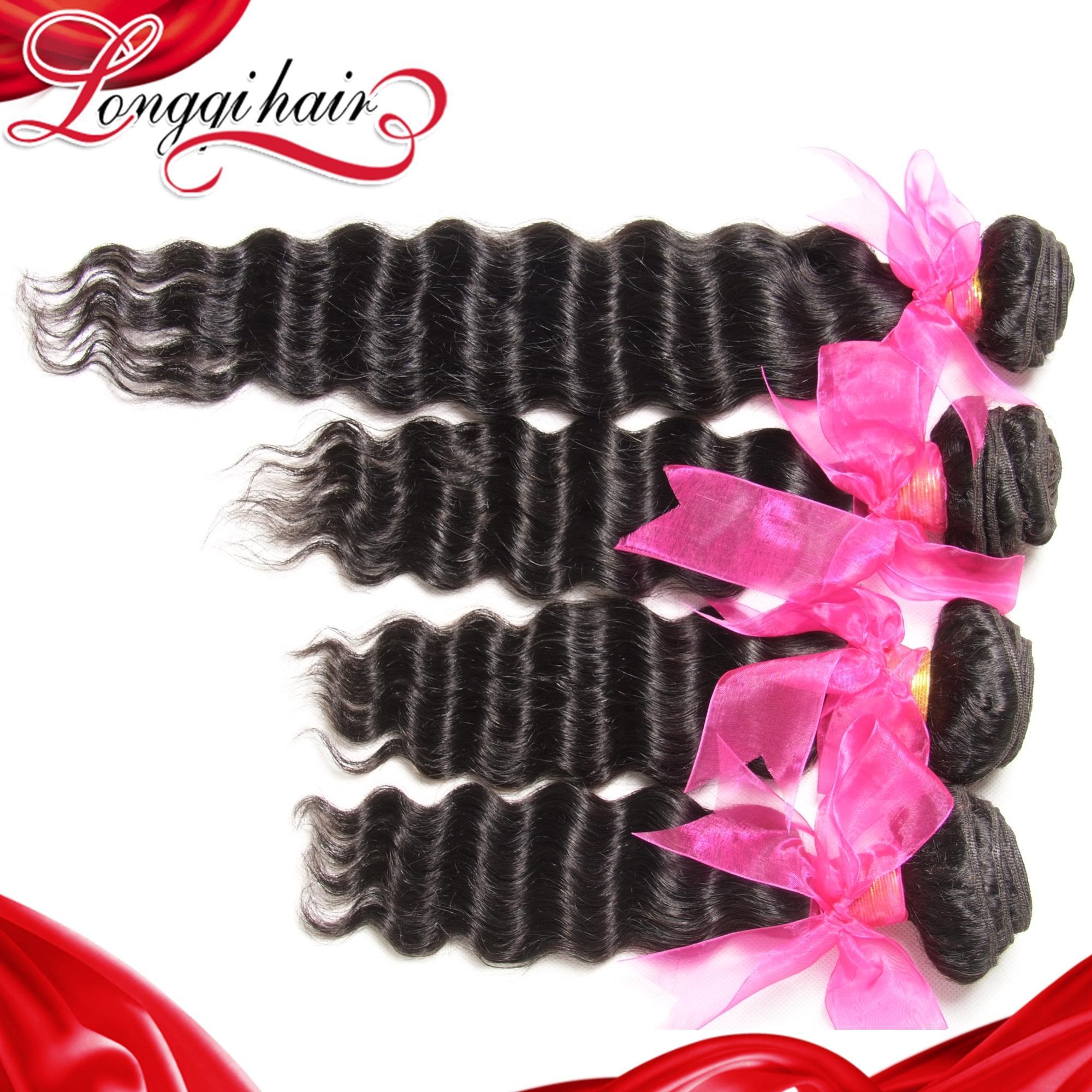 Longqi Hair 4PCS Lot 6A Malaysian Deep Wave Virgin Hair Extension, Unprocessed Malaysian Hair Weave Bundles 10-26Inch(China (Mainland))