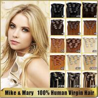 Mike & Mary 18 inch 70g 7pcs/set Malaysian Silky Straight Full Head Set 100% Human Virgin Hair Malaysian clip in hair extensions