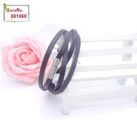 [Mix 15USD] Magnetic Leather bracelet Black OR coffee MEN male fashion jewelry