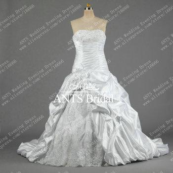 Elegant Free Shipping Scoop Neckline A line White Satin 2014 Wedding dress Bridal Gown Designer MG218