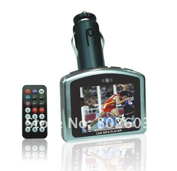 free shipping +1PCS  1.8 LCD  FM modulator Professional LCD Car MP4 Player/car FM Transmitter with remote control SD/MMC