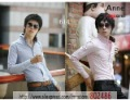 NEW Men's Slim  Dress Shirts,Korean luxury silk lined triangular collar shirt Slim / T-shirt(US SIZE: XS S M L) ST20