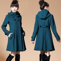 FREE SHIPPING low price slim thicken long hooded standing collar women elegant and feminine wool coats