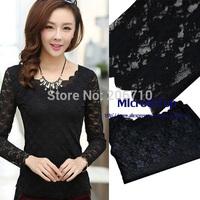 Cheapest New Double Lace Mesh Casual Women Blouse Spring Summer Shirt Tops Woman Clothing Bodyshirt Lady Blusas Roupas Femininas