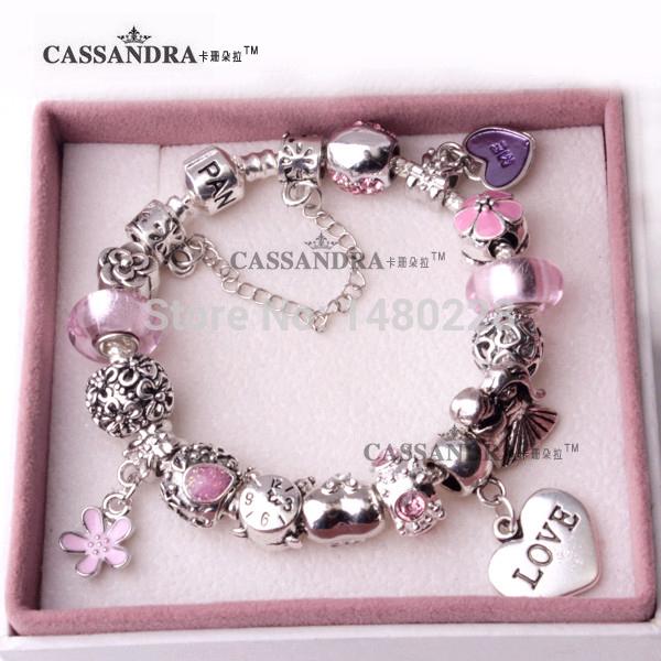 Fashion charm 925 Beads Fits Pandora Style Bracelets for women Beautiful fashion Beads Wholesale Free shipping