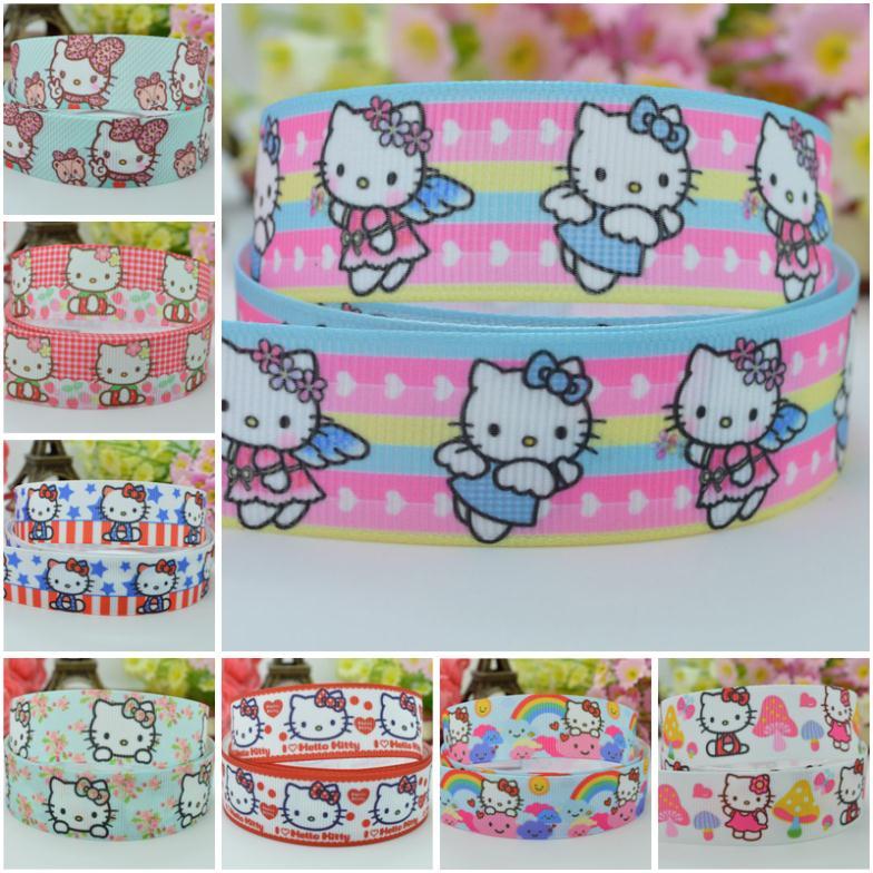 7/8'' 22mm Hello Kitty Cartoon Characters printed grosgrain ribbon party decoration satin ribbons 20 yards sewing supplies(China (Mainland))