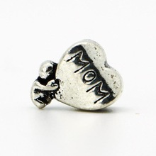 1piece 925 Silver High quality Mom Heart Bead DIY big hole European Beads Fits Silver Charm pandora Bracelets necklaces pendants