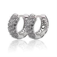 Brand White Gold Plated Hoop Earrings For Women CZ Diamond CC Earring Crystal Jewelry Earings Fashion 2015 Free Shipping 14EW-59