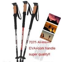 alpenstocks 3-Step 7075 aluminium alloy 3-section Hiking pole Telescopic Antishock Pole Walking Stick Cork Handle Bar 2 pcs/lot