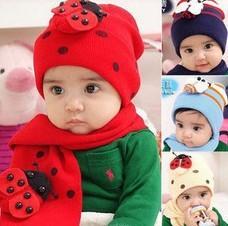 [E-Best] Retail one set Baby girls/boys hats set hat+scarves 3 colors ladybug/bee design infants caps HT012