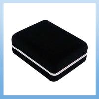 Free shipping (72pcs/lot) black velvet flocking Cufflink Box CB-206