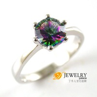 ROUND 1ct Genuine Rainbow Fire Mystic Topaz Ring 925 Sterling Silver Size 6 7 8 9 Freeshipping
