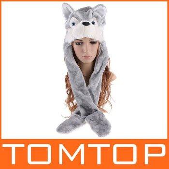 5 pcs/lot, Cartoon Animal Hat Wolf Fluffy Plush Warm animal Cap hat with Scarf Gloves, Free Shipping