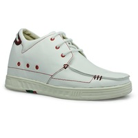 9091C White&Red Leather height increase elevator casual shoes comfortable and fashion