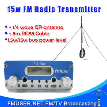 Freeshipping 15W stereo PLL FM  transmitter broadcaster  GP antenna power KIT radio transmitter