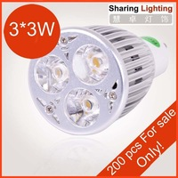 [Huizhuo  Lighting]Free Shipping 2pcs/lot High Bright High Power 3*3W GU10 LED Spotlight Bulb