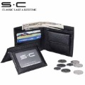 S.C Free Shipping + Credit Card Wallet + Card Holder Multiple Wallet + Leather Wallet Men 100% Genuine Leather  4CMW004