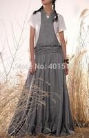 D0067 Custom made Plus Size Women's  Exquisite gray color long Linen sleeveless Maxi dress
