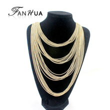 Designer Jewelry Fashionable Exaggerated Gold Silver Color Alloy Multi-layers Waterfall Long Tassel Chains Necklace(China (Mainland))