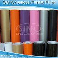 SINO CAR STICKER 1.52x30M 5FTx98FT  Free Shipping 180 Microns 13 Colors Air Free 3D Carbon Fiber Car Wrap Vinyl Film 1.52x30m