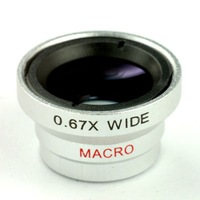 0.67X Wide Angle + 10X Zoom Macro Lens for  iPhone 5 4/4S iPad Mobile Phone Camera