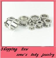 Free shipping  mix 8 size 100 pcs stainless steel body jewelry screw flesh tunnel ear plug ear cuff tunnel