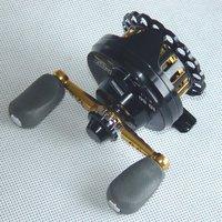 Free Shipping , ID60 Raft Fishing Reel,3.1:1,CNC Machined Aluminum Body,Black