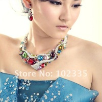 rhinestones  Wedding Jewellery Set,Costume multicolors necklace earrings set banquet/evening dress accessories  RI-0231