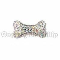 6Pcs lot clear AB rhinestone dog bone pet barrette hair ornament accessory